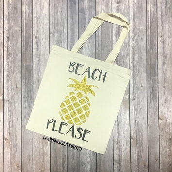 Beach Please // Glitter Tote Bag