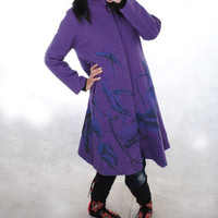 Purple Coat Single breasted dark button Babydoll stand collar long Coat
