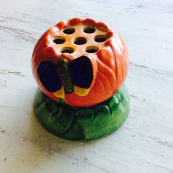 Orange Vintage Flower with Butterfly Design Ceramic Flower Frog