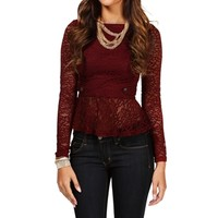 Sale-burgundy Lace Peplum