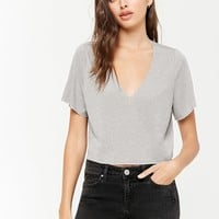 Marled V-Neck Knit Top