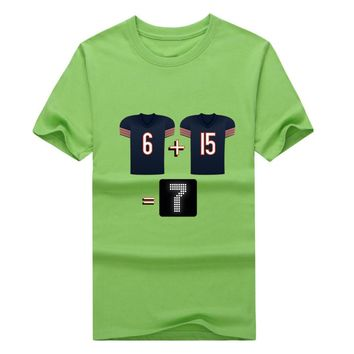 Newest 2017 Chicago Jay Cutler Brandon Marshall 6 + 15 will equal 7 points! t-shirt Bears T shirt 100% cotton