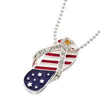 """stars 'n stripes flip-flop necklace at Joji Boutique: 1.25"""" silver sandal pendant with red, white and blue enamel and crystal detail. 16"""" ball chain with black beads and 3"""" extender chain. Designed in USA. You can leave these slippahs on in the house -- ma"""