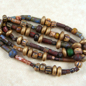 "Czech Glass Beads - Matte Finish Aged Picasso Seed, Tube and Rondelle Beads #1 - Various Sizes, Shapes and Colors - 20"" Strand"