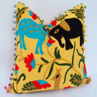 """Beautiful Suzani Cushion Cover Handmade Woolen Embroidery Colorful Turkish Style Pillow Case Cotton Pom Pom Decorative Pillows Home Decor16"""""""