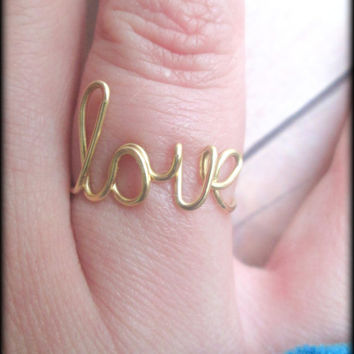 FREE SHIPPING - Love ring - Cursive love ring - Word ring - Script word ring - Gold - Brass - Ring - Love - Infinity