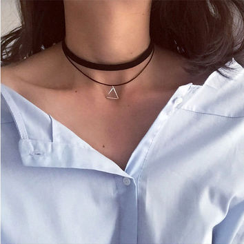 Black Leather Collar Choker Multilayer Necklace Female Jewelry