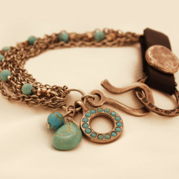 Mexican Bracelet - Silver Jewelry - Leather Jewelry - Turquoise Jewelry - Ethnic Jewelry - Gemstone Jewelry