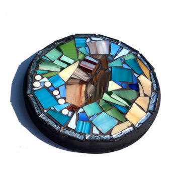 Mosaic Art Trivet. Stained Glass Fish Pot Holder. Small Hot Plate Home Decor. Underwater Artwork.