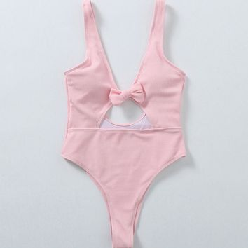 Fashion Pure Color Belly Holes Hollow Chest Knot Backless One Piece Bikini Swimsuit Bathing(6-Color) Pink