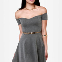 By the Book Grey Off-the-Shoulder Dress