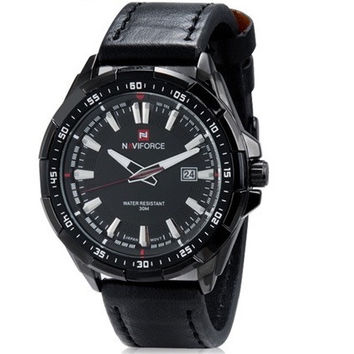 NAVIFORCE NF9056M Men's 30M Waterproof Round Dial Analog Wrist Watch with Calendar & Leather Band