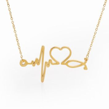 Stainless Steel Stethoscope Heartbeat Necklace Women I Love You Heart Necklaces & Pendants Choker Nurse/Doctor Collier Femme