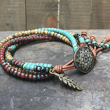 Native American Leather Wrap Bracelet/ Seed Bead Bracelet/ Beaded Wrap Bracelet/ Southwestern Wrap Bracelet/ Boho Wrap Bracelet.