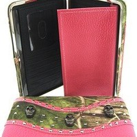 Camo Skull Flat Wallet Clutch Purse Camouflage Pink (Pink)