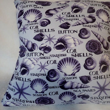 Decorative Pillow Cover, Sea Shore Decor Pillow Cover, 16 x 16 Pillow Cover, Light Purple, Scallops, Starfish,Coil Shells,Snails,Button