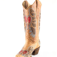 Corral Women's Distressed Tan Winged Heart Red & Blue Inlay Boot - A1976
