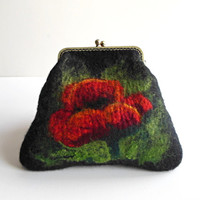 Hand felted bag  black with poppy flowers purse  pouch  metal frame purse, wool felted, black,