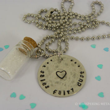 Sales Fairy Dust Glass Jar Necklace Hand Stamped Metal With Glitter