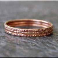 Set of 3 14k Rose Gold Twig Ring, Bark Texture Ring, Solid 14k Gold Stacking Ring, Gold Thin Stackable Ring, Woodland Ring, Gold Filled Ring