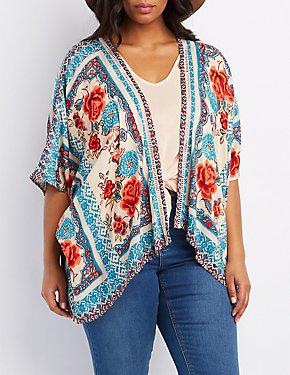 Plus Size Floral Print Kimono From Charlotte Russe Charlotte