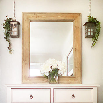 Rustic Vanity Mirror White Wax Wall Wooden Fr