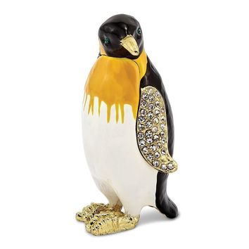 Bejeweled Marching Penguin Trinket Box with Charm Pendant
