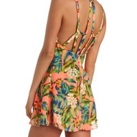 STRAPPY CAGED BACK TROPICAL PRINT SHIFT DRESS