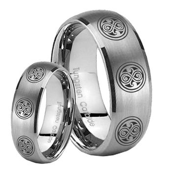 His Her Satin Silver Dome Multiple Doctor Who Tungsten Carbide Wedding Rings Set