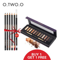 O.TWO.O 12 Shades Eyeshadow Highlighter Glitter and Matte Smoky Eyeshadow Palette+Eye Brow Pencil 6pcs gift Make Up set Smoky