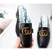 GUCCI 2019 new set of feet shallow mouth with double G buckle ladies shoes Black