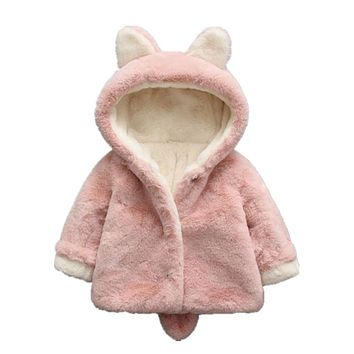 Winter Baby Faux Fur Parka Coats Kids Boy Girls Thick Hoodie Ears Tail Warm Jackets Coat Casual Children Outerwear Clothes Y027