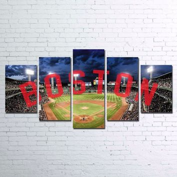 Boston Red Sox Baseball Canvas Large Framed Five Piece