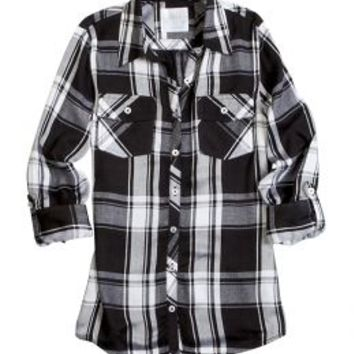 Button Up Plaid Shirt | Girls Long Sleeve Tops | Shop Justice