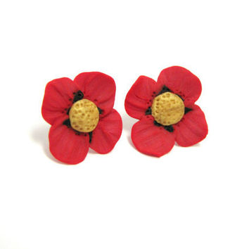 Poppy flower stud earrings