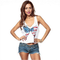 White American Flag Printed Bow Sleeveless T-Shirt