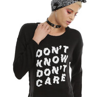 Don't Know Don't Care Girls Pullover Destruction Crop Sweater