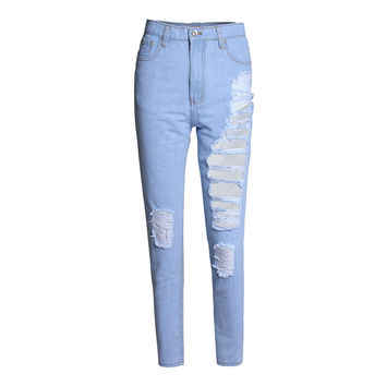 4XL Plus Size Ripped Jeans for Women  Loose Straight Denim Pants Harajuku Boyfriend Washed Blue Jeans