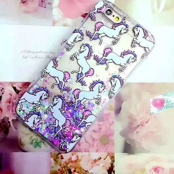 The unicorn purple sand mobile phone case for iphone 5 5s SE 6 6s 6 plus 6s plus + Nice gift box 072701
