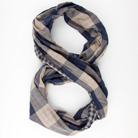David + Young Mens Infinity Scarf Navy Combo One Size For Men 25209421101