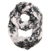 Cozy by LuLu - Tabitha Infinity Scarf in White with Black and Gray Print