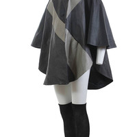 """Leather Cape Coat Avant Garde 80s Clothing Draped Batwing Color Block Jacket Gray Black Plus Size Vintage One Size Fits All 108"""" Wide OSFA"""