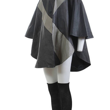 "Leather Cape Coat Avant Garde 80s Clothing Draped Batwing Color Block Jacket Gray Black Plus Size Vintage One Size Fits All 108"" Wide OSFA"