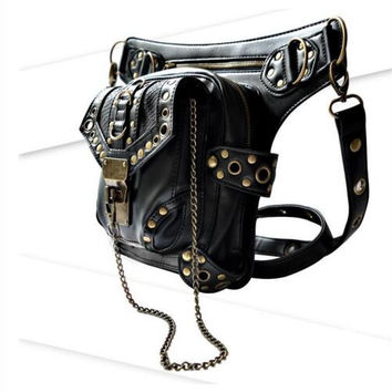 Feger Solid Pu Waist Packs Steampunk Bag