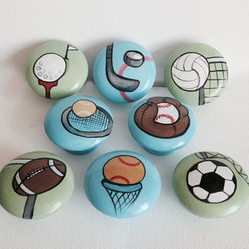 Hand Painted Sports Drawer Pulls / Dresser Knobs for Boys, Kids and Nursery Rooms
