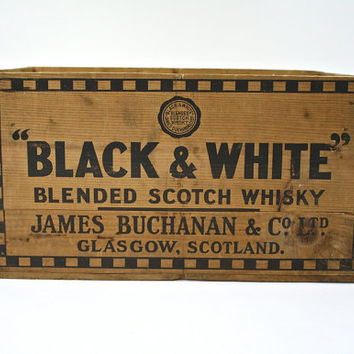 Vintage Wood Whiskey Crate / Black & White Whiskey Crate