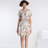 Vintage Floral Print V-Neck Bat Sleeve A-Line Dress