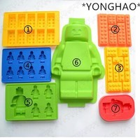 YONGHAO Cake Tools Holes Lego Mini Figure Robot Ice Cube Tray Mold Chocolate Cake Jelly Jello Silicone Mold Fondant Moulds N543