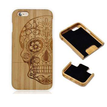 Natural Genuine Bamboo Wooden Popular Skull Pattern Phone Case For Iphone 6 4.7 Inch Hard Back Wood Cover