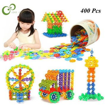 400Pcs 3D Puzzle Jigsaw Plastic Snowflake Building Building Model Puzzle Educational Intelligence Toys For Kids WYQ